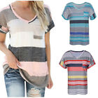 Summer Women's Fashion Loose Short Sleeve Print V Neck T-Shirt Tee Blouse Tops