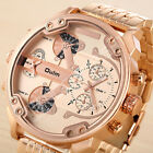 Oulm Large Dial Watch PU Leather Stainless Steel Band Dual Display Men Boy Watch