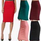 TheMogan Women's S~3XL Stretch Woven Elastic High Waist Knee Midi Pencil Skirt
