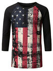 MILE Men's Flag Printed Long Sleeve Slim Casual T Shirt Graphic Tee Tops Blouse