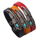 Natural Unisex Turquoise Leather Bracelet Vintage Zinc Alloy PU Bangle