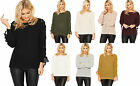 Womens Knitted Jumper Top Ladies Tie Detail Round Neck Long Sleeve Plain 8-14
