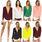 Ladies Sexy V-neck Zipper Tops Tee Long Sleeve Casual Blouse Loose T-shirt 2017