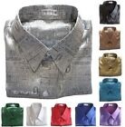 Mens Jacquard Weave Thai Silk Shirts Casual Button Front Short Sleeve Small-3XL