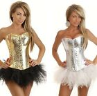 Faux Leather Sequin Corset Top & Separate Tutu, Skirt Showgirl Basques Costume