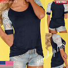 Womens Summer Lace Tops Short Sleeve Blouse Casual Loose Tank Tops Tee T-Shirt
