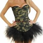 Army Camouflage Fancy Dress Camo Army Boned Basque Corset+Tutu Skirt Set