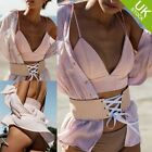 Women Casual Dbl Strap Bra Suede Crop Top Beach Bikini Backless Tank Top