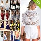 Women Lace Patchwork High Neckline Zipper Long Crochet Sleeve Shorts Playsuit