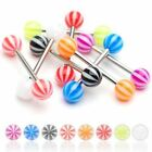 1 x CandystripeTongue Nipple Bar Barbell 14GA (1.6MM ) Sizes From 6MM to 35MM