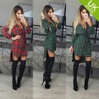 Women Slim Fit Plaid Checks Dresses Long Sleeve tartan Collar Button Shirt Dress