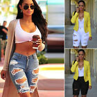 Fashion Women Ripped Destroyed Hole Denim Knee Length Shorts Skinny Ripped Jeans