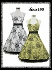 dress190 Black or Red 50s HALTER FLOCK ROCKABILLY COCKTAIL VINTAGE PARTY DRESS