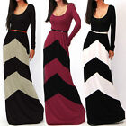 Women Summer Regular Geometric Striped Hit Color Long Sleeve Long Dress