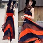 Fashion summer Sleeveless boho maxi bohemian chiffon dress lady girl EN24H01