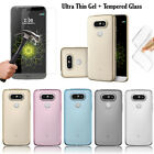 Ultra Thin Clear Gel Soft Skin Case Cover + Tempered Glass for LG Mobile Phones