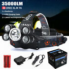 35000LM 5x XM-L T6 LED Headlamp Headlight Flashlight Head Light Lamp 18650 lot