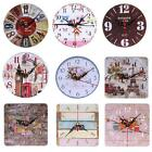 Vintage Wooden Round Wall Clock Shabby Rustic Kitchen Home Antique Decor Retro