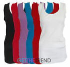 Womens Plus Size Basic Casual Rib Vest Top Ladies Sleeveless Ribbed Long Vest