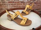 Clarks Yellow Leather T-Strap Buckle Detail Sandals NEW Reida Madalyn