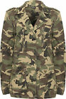 Womens Camouflage Combat Jacket Ladies Long Sleeve Button Zip Pocket Coat