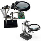 Helping Hand Soldering Stand With 5 LED Light Magnifier Magnifying Glass 3 Lens