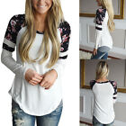 Fashion Women Lady Long Sleeve Shirt Casual Blouse Loose Cotton Tops T Shirt US