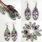 Natural Amethyst Peridot Chip Beads Tree of Life Reiki Pendant Necklace Earrings