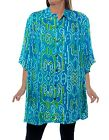WeBeBop  TRIBAL SPIRIT Blue Green White Crinkle Rayon Tunic