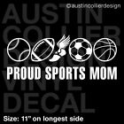 "11"" SPORTS MOM Decal Car Sticker - Baseball Football Track Soccer Basketball"