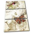Vintage Garden Spring Butterfly Floral TREBLE CANVAS WALL ART Picture Print