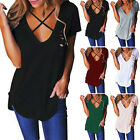 2017 Women V-Neck Hollow Out Short Sleeve T-Shirt Casual Loose Blouse Top Shirt
