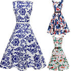 50S 60S ROCKABILLY DRESS Vintage Floral Swing Pinup Retro Housewife Party Dress