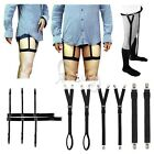 Men's Unifrom Shirt Stays Y Style Holders Suspenders Elastic Garter+Lock Clamps