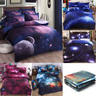 Galaxy Sky Cosmos Night Pattern 3D Printed Single Queen Size Bedding Cover Set