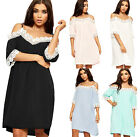 Womens Strappy Lace Trim Dress Ladies Cut Out Cold Shoulder Short Sleeve 8-14