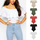 Summer Womens Sleeveless Off Shoulder Frill Leoatard Bodysuit Stretch Jumpsuits