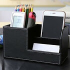 Leather Home Office Desk Decor Storage Box Pencils Stationery Organizer 5Colors