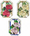 """Silver Creek Roses ~ 7"""" X 10"""" Flower Suncatcher ~ Red, Yellow or Lavender"""