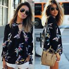 Fashion Women Chiffon Floral Embroidered Lady Long Sleeve Blouse Casual T Shirt