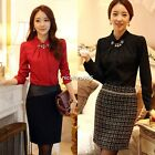 New Long Puff Sleeve Office Shirts Blouses Casual Clothes with N4U801