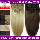 Deluxe Clip in Real Thick 100% Remy Human Hair Extensions Full Head Double Wefts