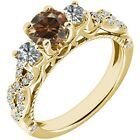 1.75 Ct Champagne Diamond 3 Three Stone Infinity Solitaire Ring 14K Yellow Gold
