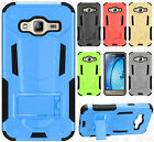 For Samsung Galaxy Amp Prime HYBRID KICK STAND Rubber Case Phone Cover Accessory