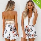 Women Summer Backless Strappy  Sleeveless Floral Playsuit Party Beach  Jumpsuit