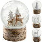 Birch Base Snow Globe Christmas Decoration Stag Deer Penguin Tree White Brown