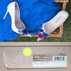 sz 37 NEW $675 MIU MIU White PATENT LEATHER Blue Red FLOWER POINT TOE Heels 7