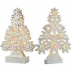 Pre-Lit LED Snowflake Tree Table Window Christmas Decoration Wooden White