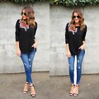 New Fashion Women Plus O-Neck Long Sleeve Embroidery Loose Pullover T-shirt S0BZ
