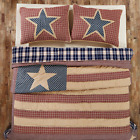 3PC INDEPENDENCE PATRIOTIC AMERICANA RED QUILT SHAMS PILLOW SKIRT BED SET VHC